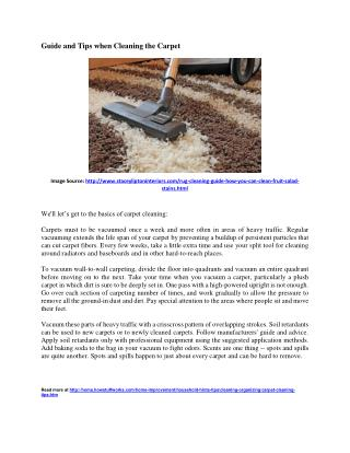Carpet Cleaning Tips and Guide