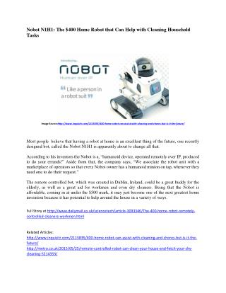 About Nobot N1H1 : The Robot House Cleaner
