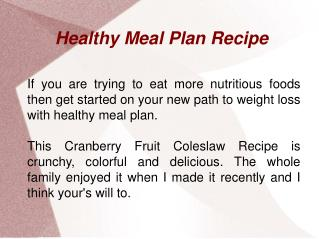 Healthy Meal Plan Recipe