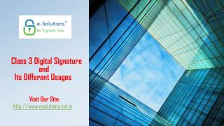 Class 3 Digital Signature Certificate