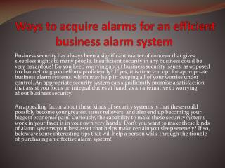 Ways to acquire alarms for an efficient business alarm system