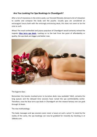 Are You Looking For Spa Bookings In Chandigarh?
