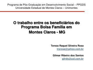 Programa de P s-Gradua  o em Desenvolvimento Social   PPGDS Universidade Estadual de Montes Claros   Unimontes