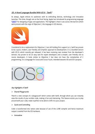 "A Novel Language Bundled With iOS 8 - ""Swift"""