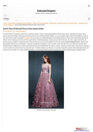 Quarter Sleeve Bridesmaid Dresses Latest Women Fashion