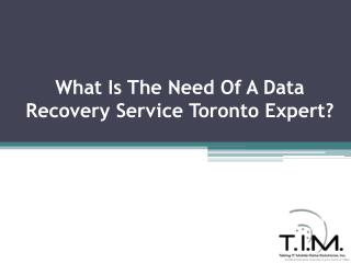 What Is The Need Of A Data Recovery Service Toronto Expert?