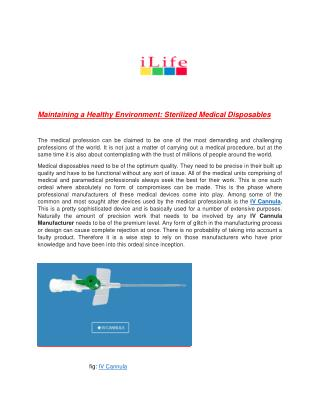 Maintaining a Healthy Environment: Sterilized Medical Disposables