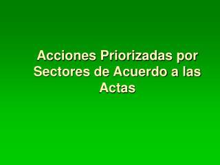 Acciones Priorizadas por Sectores de Acuerdo a las Actas