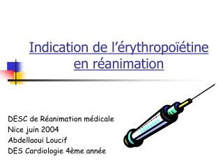 Indication de l  rythropo  tine en r animation