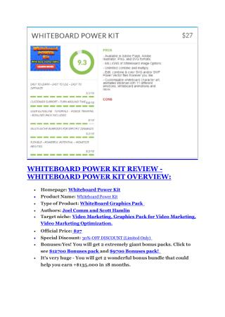 Whiteboard Power Kit review and Whiteboard Power Kit $11800 Bonus & Discount