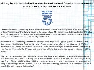 Military Benefit Association Sponsors Enlisted National Guard Soldiers at the 44th Annual EANGUS Exposition - Race to In
