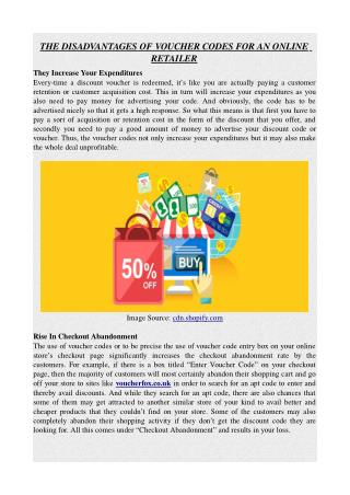THE DISADVANTAGES OF VOUCHER CODES FOR AN ONLINE RETAILER