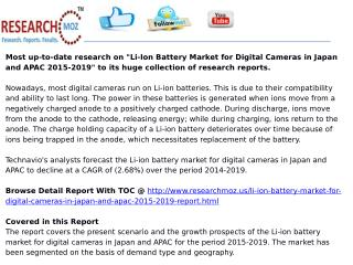 Li-Ion Battery Market for Digital Cameras in Japan and APAC 2015-2019