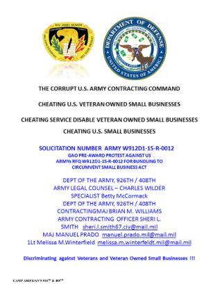 Blog 25 USMC 20150725 SOLICITATION W912D1-15-R-  0012 -GAO PRE-AWARD PROTEST AGAINST US ARMYs RFQ   W912D1-15-R-0012 FOR