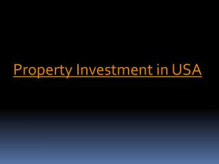 Property Investment in USA - Loans USA