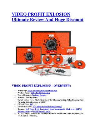 Video Profit Explosion review - Video Profit Explosion  100 bonus items