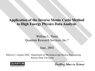 Application of the Inverse Monte Carlo Method to High Energy Physics Data Analysis