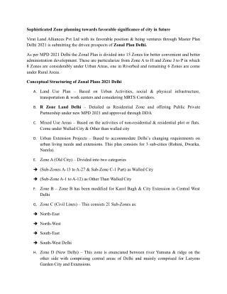 Zonal Plan Delhi