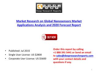 Nanosensors Market Production Sales and Market Status 2010-2015