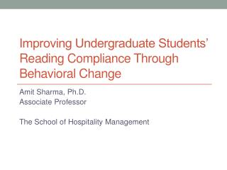 Improving Undergraduate Students  Reading Compliance Through Behavioral Change