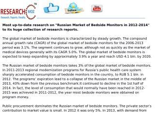 Russian Market of Bedside Monitors in 2012-2014