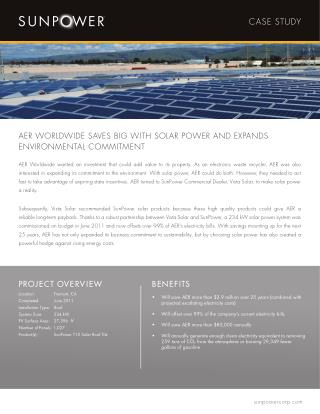 AER WORLDWIDE SAVES BIG WITH SOLAR POWER AND EXPANDS ENVIRONMENTAL COMMITMENT