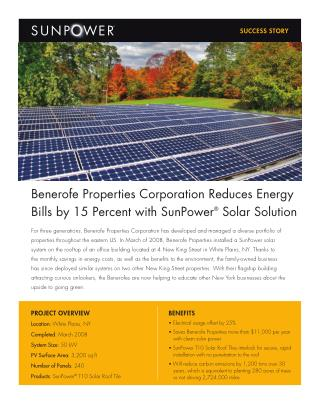 Benerofe Properties Corporation Reduces Energy Bills by 15 Percent with SunPower® Solar Solution