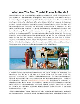 What Are The Best Tourist Places In Kerala?