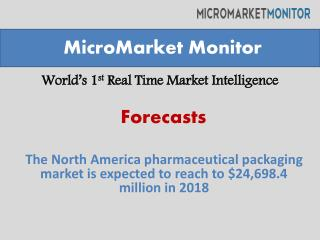 The North America pharmaceutical packaging market is expected to reach to $24,698.4 million in 2018