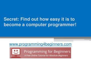 Secret: Find out how easy it is to become a computer programmer! - www.programming4beginners.com