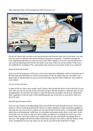 Most Important Tips on Preventing Fuel Theft From Your Car