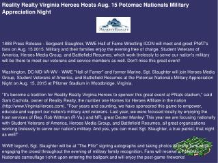 Reality Realty Virginia Heroes Hosts Aug. 15 Potomac Nationals Military Appreciation Night