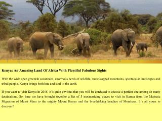 Kenya Beach Holidays safari Tour