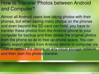 How to Transfer Photos between Android and Computer?