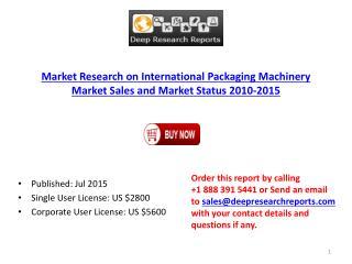 International Packaging Machinery Market Sales and Market Status 2010-2015