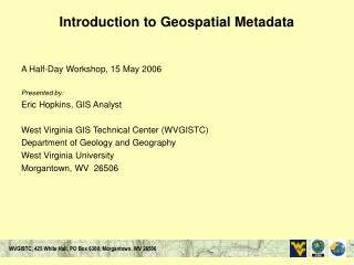 Introduction to Geospatial Metadata