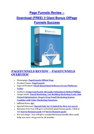 Page Funnels Success  REVIEW and GIANT $21600 bonuses