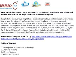 Telematics: Technology, Business Opportunity and Patent Analysis