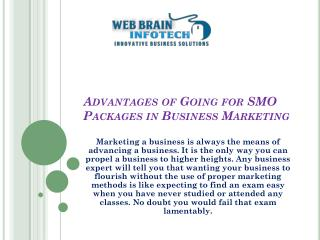 Advantages of Going for SMO Packages in Business Marketing