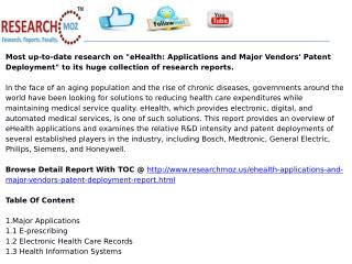 eHealth: Applications and Major Vendors' Patent Deployment