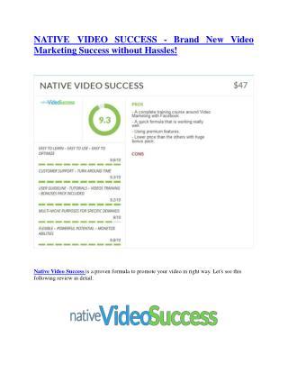 Native Video Success  review demo and premium bonus