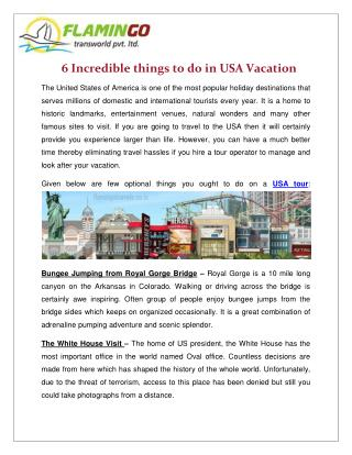 6 Incredible things to do in USA Vacation