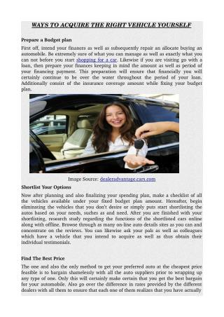 WAYS TO ACQUIRE THE RIGHT VEHICLE YOURSELF