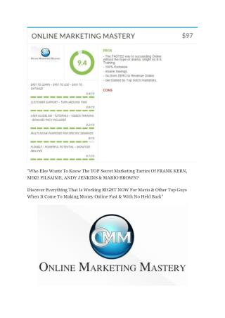 Online Marketing Mastery review-$16,400 Bonuses & 70% Discount