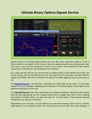 Ultimate Binary Options Signals Service