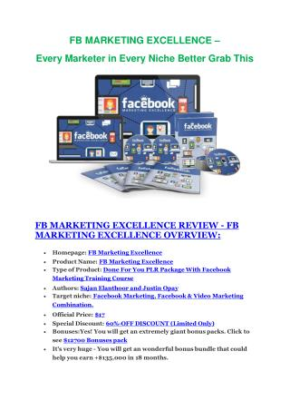 FB Marketing Excellence review in detail and (FREE) $21400 bonus