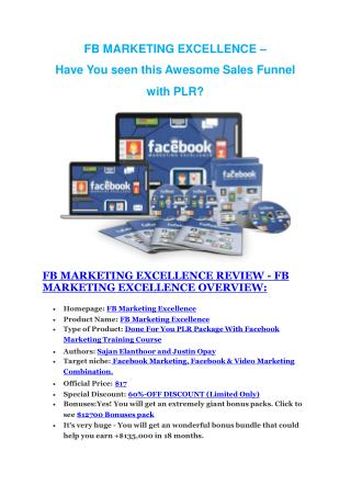 FB Marketing Excellence Review and Premium $14,700 Bonus