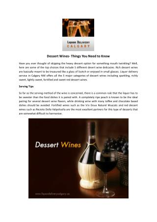 Dessert Wines- Things You Need to Know