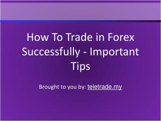 How To Trade in Forex Successfully - Important Tips