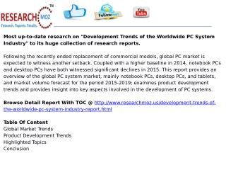 Development Trends of the Worldwide PC System Industry